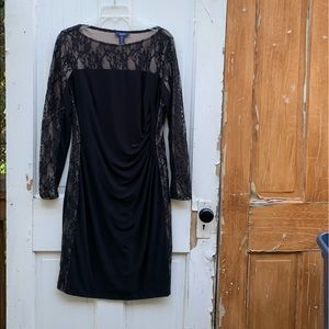 Chaps dress with lace trim Size Large
